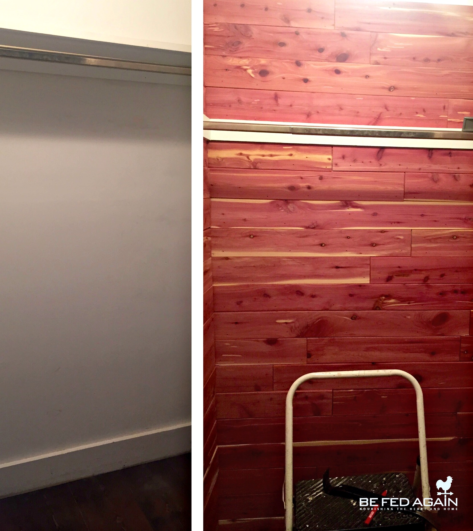 coat closet - installing CedarSafe before and after photo