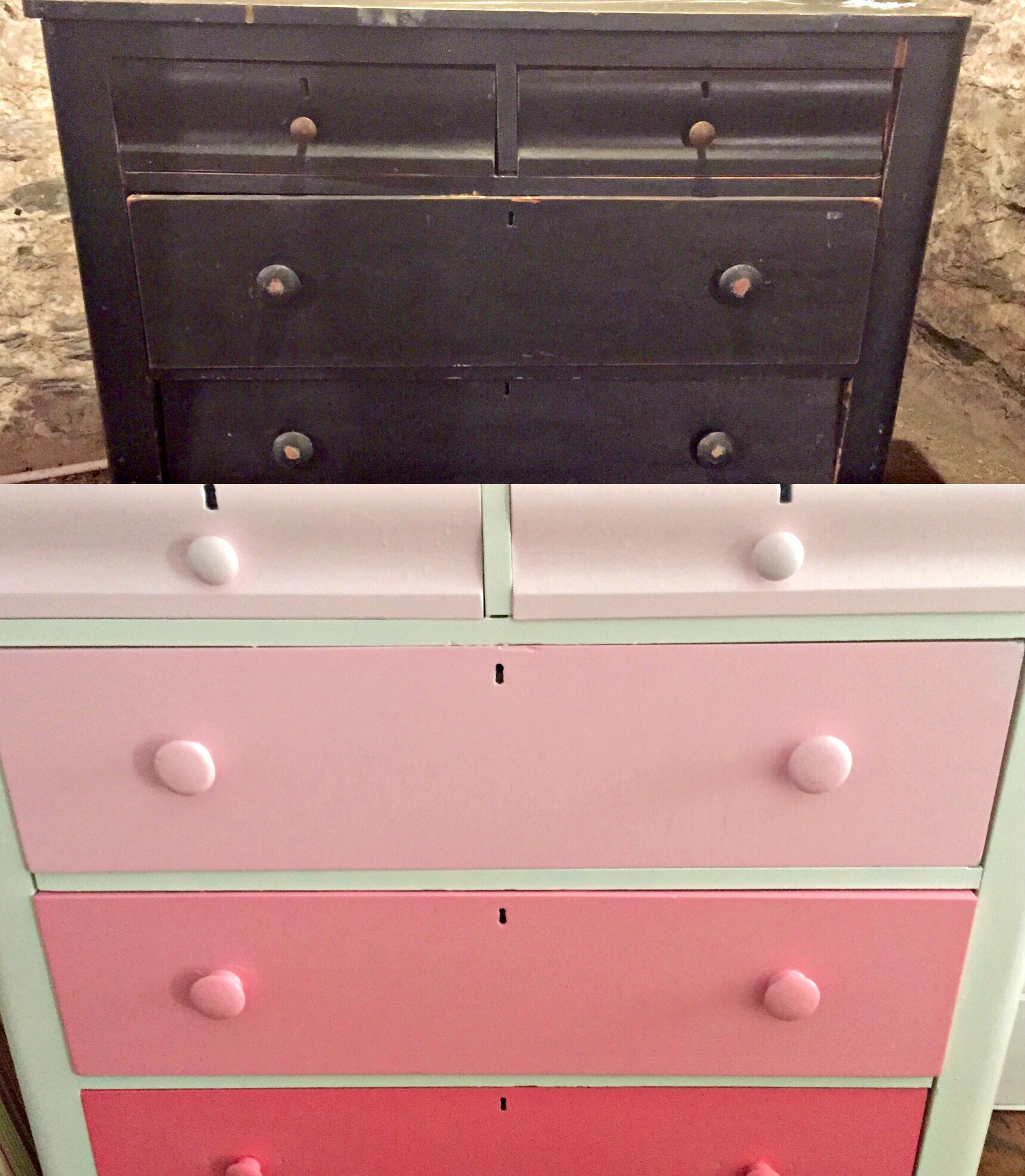 sprayed dresser before and after