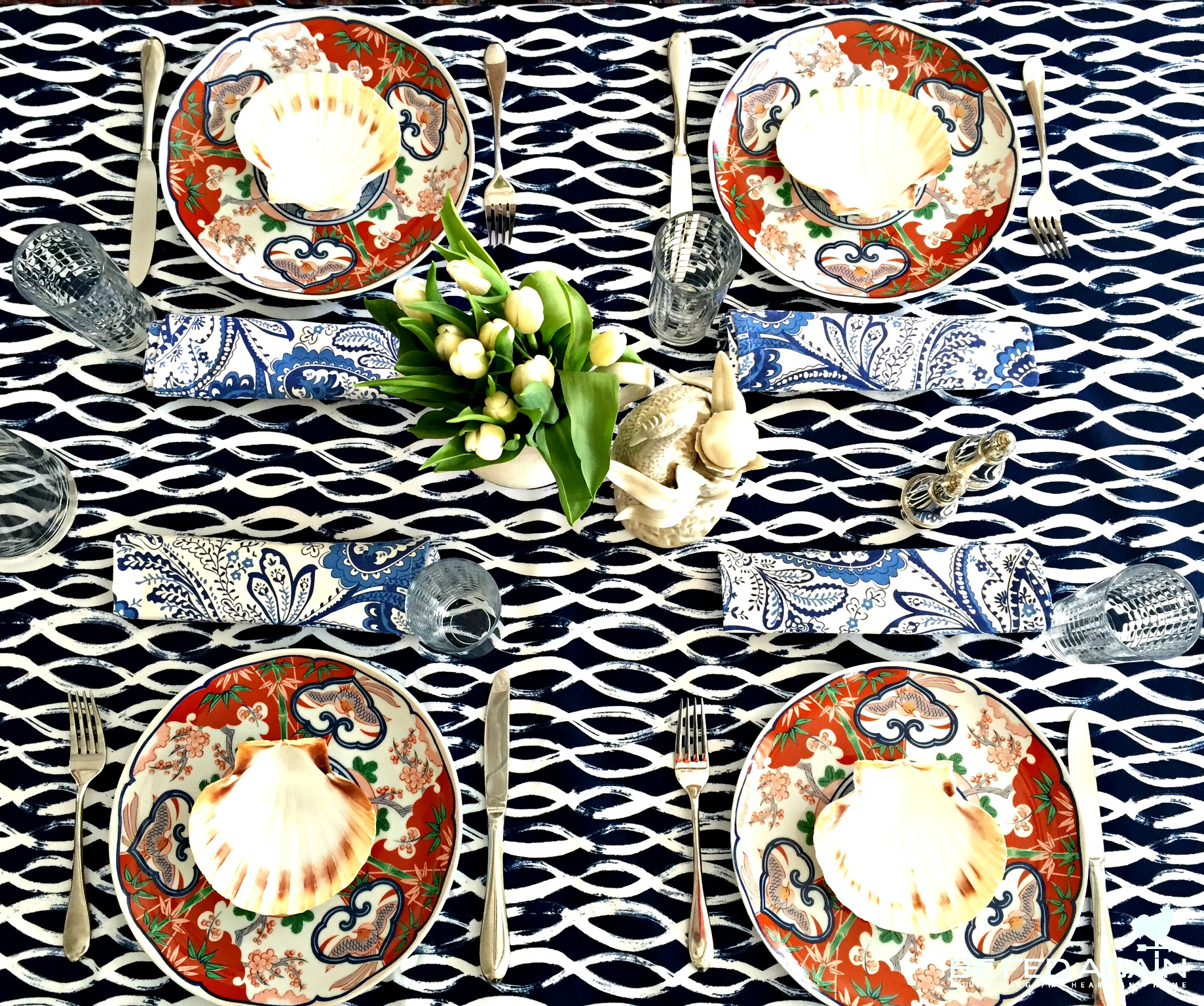 spring tablesetting - blues inspired top view